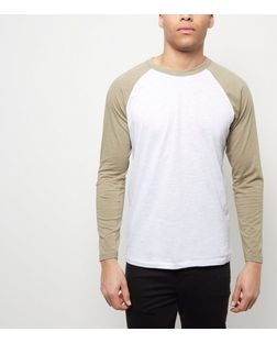 Khaki Raglan Long Sleeve Top  | New Look