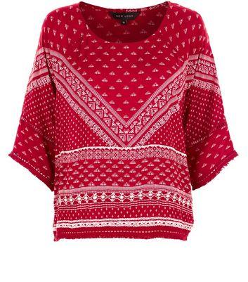 red-tile-print-fray-hem-t-shirt