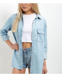 Light Blue Denim Oversized Long Sleeve Shirt  | New Look
