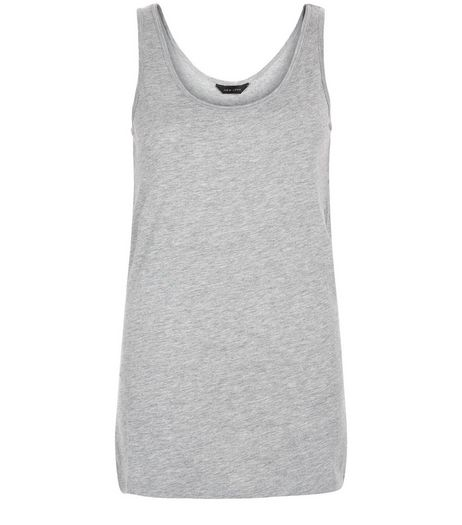 Grey Scoop Neck Vest  | New Look