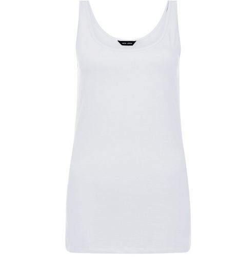 White Scoop Neck Vest  | New Look