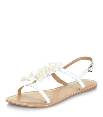 Sandalo  donna Wide Fit White Leather Flower Sandals