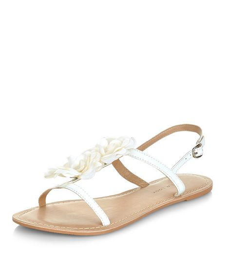 Wide Fit White Leather Flower Sandals  | New Look