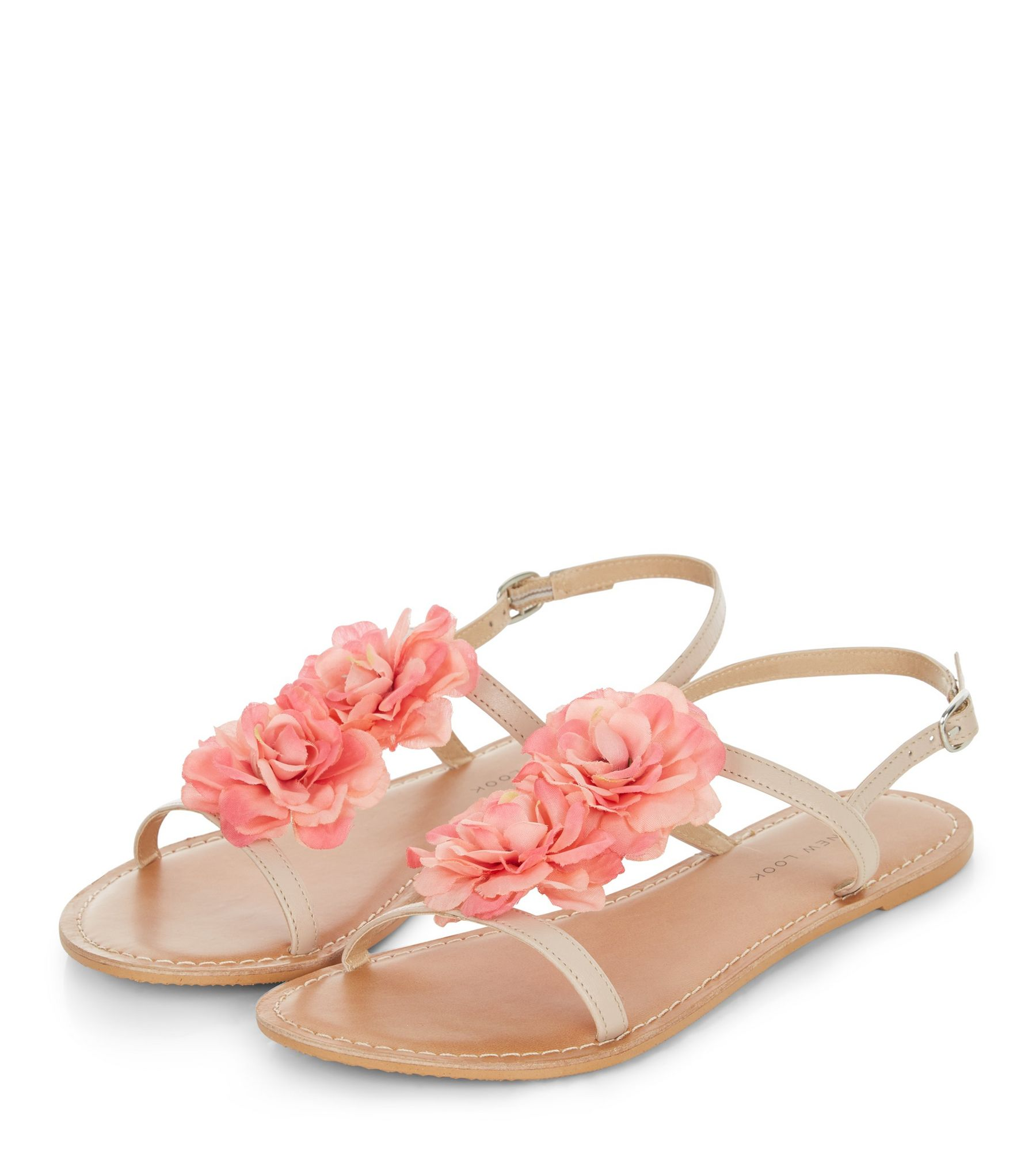 Wide Fit Stone Leather Flower Sandals  | New Look
