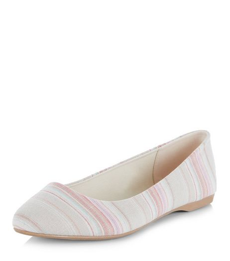 Wide Fit Pink Canvas Stripe Pointed Pumps  | New Look