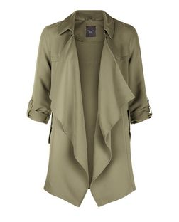 Petite Khaki Waterfall Trench Coat | New Look