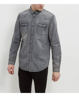 Grey Denim Long Sleeve Western Shirt | New Look