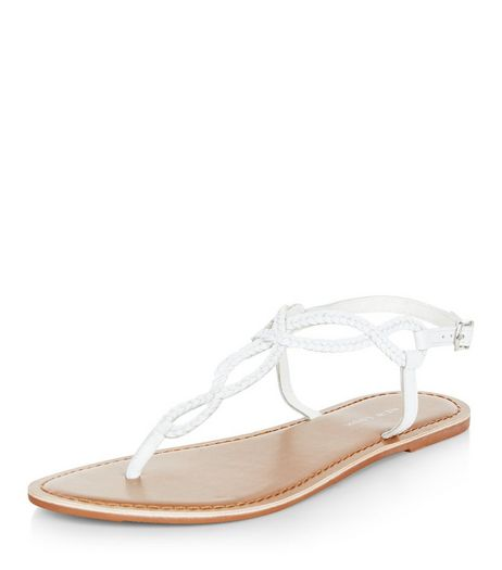 White Leather Twist Plait Sandals | New Look