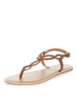 Tan Leather Twist Plait Sandals  | New Look
