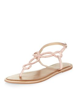 Pink Leather Twist Plait Sandals  | New Look