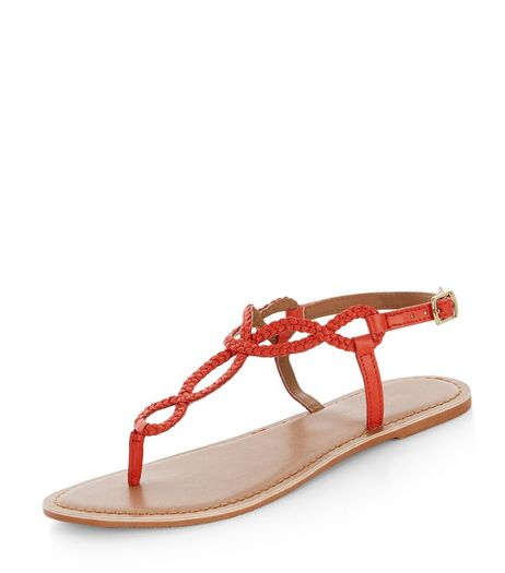 Bright Orange Leather Twist Plait Sandals  | New Look
