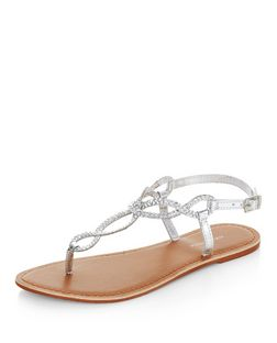 Silver Leather Twist Plait Sandals  | New Look
