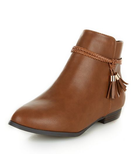Tan Faux Leather Plaited Tassel Strap Ankle Boots  | New Look