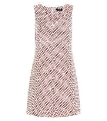Product photo of Red stripe jacquard v neck shift dress