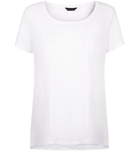 White Pocket Front Slub T-Shirt  | New Look