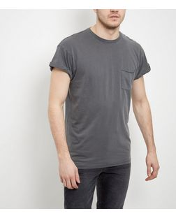 Grey Washed Single Pocket Roll Sleeve T-Shirt  | New Look