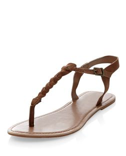 Wide Fit Tan Suede Plaited Strap Sandals  | New Look