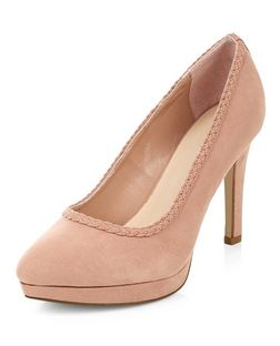 Wide Fit Pink Comfort Plaited Trim Court Shoes  | New Look