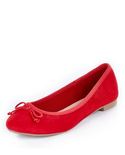 Red Suedette Ballet Pump  | New Look