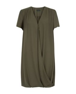 Khaki Wrap Front Drape Dress  | New Look