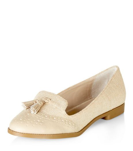 Cream Canvas Contrast Embossed Tassel Front Loafers  | New Look
