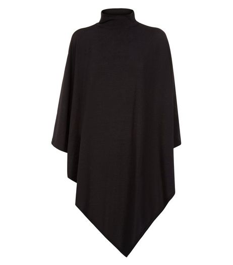Madam Rage Black High Neck Knitted Poncho | New Look