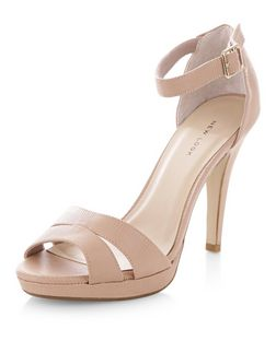 Stone Double Strap Platform Heels | New Look