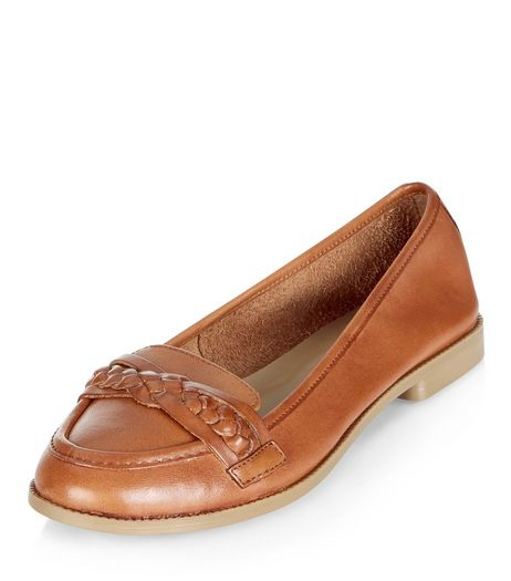 Tan Leather Woven Strap Loafers  | New Look