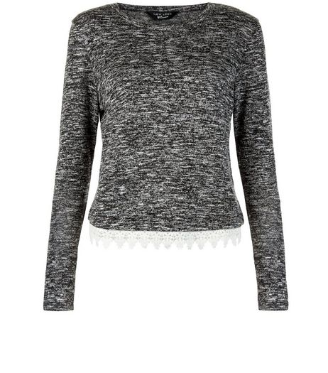 Teens Grey Space Dye Crochet Hem Jumper  | New Look