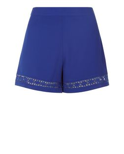Teens Blue Crochet Panel Shorts | New Look