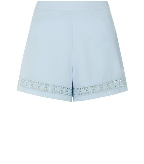Teens Light Blue Crochet Panel Shorts | New Look