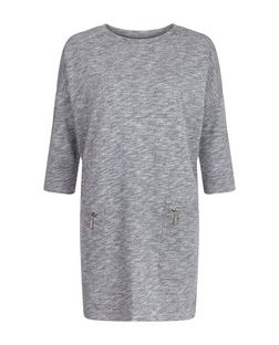 Grey Zip Pocket Longline Tunic Top  | New Look