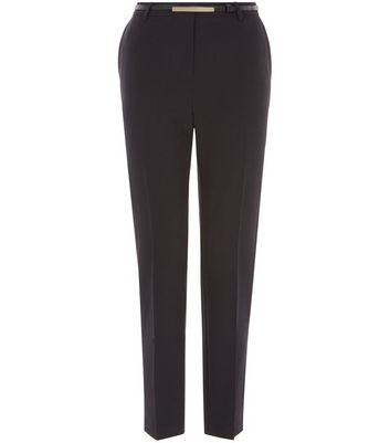 Black Belted Slim Fit Trousers