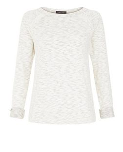 Stone Marl Crochet Panel Sweatshirt | New Look