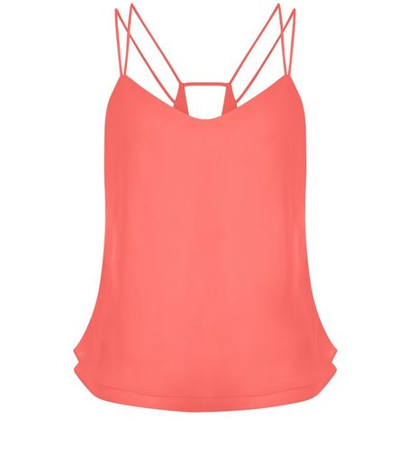 Petite Pink Layered Double Strap Cami  | New Look