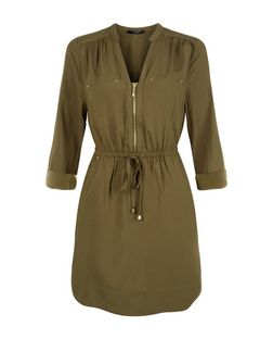 Petite Khaki Zip Front Shirt Dress | New Look
