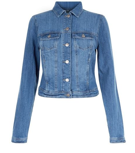 Tall Blue Double Pocket Denim Jacket | New Look