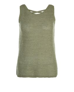 Petite Khaki Cross Back Knitted Vest | New Look