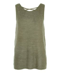 Tall Khaki Cross Back Knitted Vest | New Look