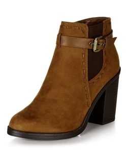 Tan Suedette Stitch Trim Block Heel Ankle Boots  | New Look