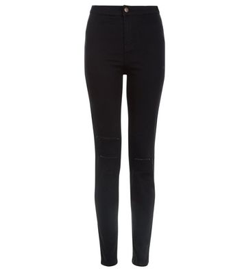 Black Double Ripped High Waist Super Skinny Hallie Jeans
