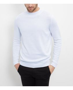 White Cotton Funnel Neck Jumper  | New Look