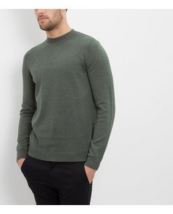 Khaki Cotton Funnel Neck Jumper  | New Look