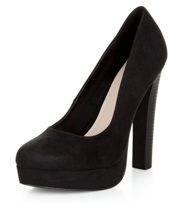 Black Suedette Block Heels