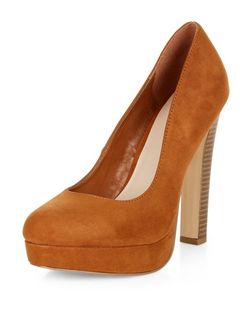 Tan Suedette Block Heels  | New Look