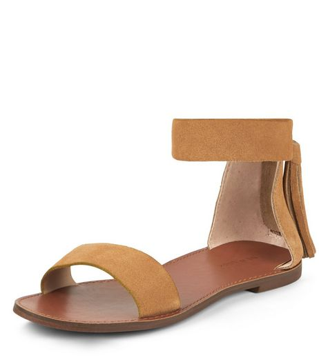 Tan Suede Tassel Back Ankle Strap Sandals  | New Look