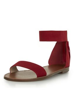 Red Suede Tassel Back Ankle Strap Sandals  | New Look