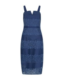 Blue Lace Stripe Notch Neck Bodycon Dress  | New Look