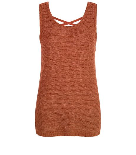 Tan Knitted Cross Back Vest  | New Look