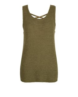 Khaki Knitted Cross Back Vest  | New Look
